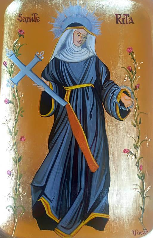 Icône de Sainte Rita, sur support bois, egg tempera, travail à la feuille d'or.